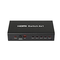 4 puertos lcd cable cuadro concentrador conmutador detector magnético hdmi 1080p divisor hdtv, carcasa metálica con adaptador de corriente