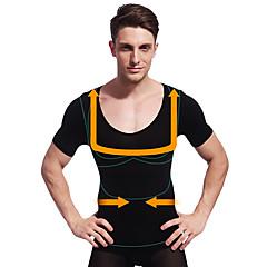 homens verão emagrecimento shaper do corpo de manga curta camisa de controle da barriga calcinha barriga firme busto ny103 negros
