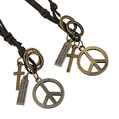 Недорогие Ожерелья-Муж. Ожерелья с подвесками - Кожа Серебряный, Бронзовый Ожерелье Бижутерия Назначение Повседневные