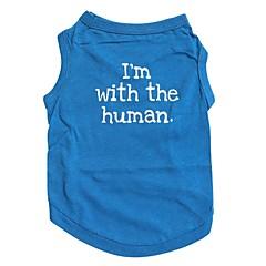 tanie Ubranka i akcesoria dla psów-Kot Pies T-shirt Ubrania dla psów Litera i numer Niebieski Bawełna Kostium Dla zwierząt domowych