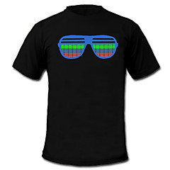 LED T-shirts Sound activated LED lights Textile Cartoon 2 AAA Batteries