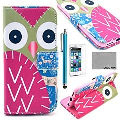 Недорогие Кейсы для iPhone 5с-Коко fun® красочным узором сова искусственная кожа полный случай тела для Iphone 6 4.7 с экраном Protecter