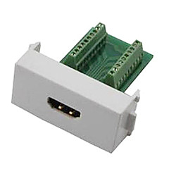N86-600K Female HDMI V1.4 Adapter Free Welding Module Socket Wall Panel Support 3D - White + Green