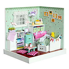 abordables Casas de Muñecas y Accesorios-3d hecho a mano casa de muñecas de madera sueño con el modelo de los muebles