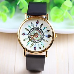 preiswerte Damenuhren-Damen Quartz Armbanduhr Schlussverkauf PU Band Blume Freizeit Modisch Schwarz Weiß Braun