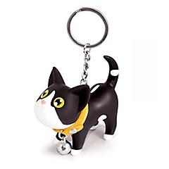 belle silicone petit noir AMP; chat blanc porte-clés