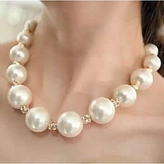 お買い得  ネックレス-女性用 チョーカー / パールネックレス  -  真珠, ラインストーン ボール型 ぜいたく, ステートメント ネックレス 用途 結婚式, パーティー, 日常