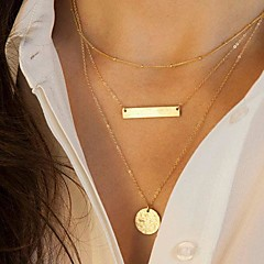 Women's Pendant Necklaces Vintage Necklaces Geometric Alloy Fashion European Multi Layer Sequins Costume Jewelry Jewelry For Daily