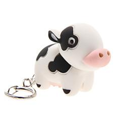 Eclairage LED Porte-clés Jouets Porte-clés Eclairage LED Son Cow Dessin Animé Pièces Noël Anniversaire Le Jour des enfants Cadeau