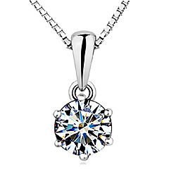 Women's Pendant Necklaces Crown Sterling Silver Zircon Cubic Zirconia Basic Elegant Costume Jewelry Jewelry For Wedding Party Gift Daily