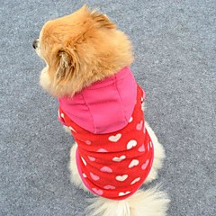 Cat Dog Hoodie Rose Dog Clothes Winter Spring/Fall Hearts Cute Fashion