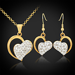 cheap Vintage Jewelry Sets-Women's Crystal Rhinestone Gold Plated Heart Jewelry Set Earrings Necklace - Unique Design Love Elegant Heart Jewelry Set Drop Earrings