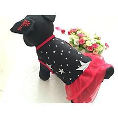 Psy Suknie Red Black Ubrania dla psów Lato Wiosna/jesień Gwiazdki Codzienne