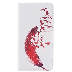 Недорогие Чехлы и кейсы для HTC-Кейс для Назначение HTC Кейс для HTC Бумажник для карт Кошелек со стендом Флип Чехол  Перья Твердый Кожа PU для