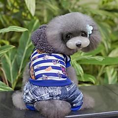 お買い得  犬用ウェア&アクセサリー-犬用品 パンツ ブルー / ローズピンク 冬 縞柄