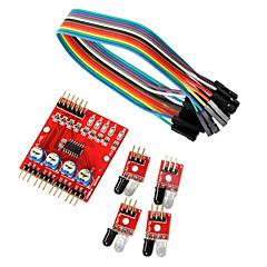 お買い得  センサー-Arduinoのための4ウェイ赤外線トレース伝送線路モジュール車ロボットセンサ
