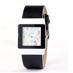 preiswerte Damenuhren-Damen Armbanduhr Quartz Schlussverkauf Leder Band Analog damas Charme Modisch Schwarz Gelb Rosa