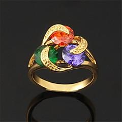 preiswerte Ringe-Damen Bandring - Zirkon, Kubikzirkonia, vergoldet Geburtssteine 6 / 7 / 8 Weiß / Regenbogen Für Hochzeit / Party / Alltag