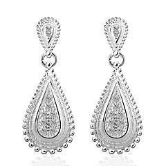 preiswerte Ohrringe-Damen Kristall Tropfen-Ohrringe - versilbert Träne Modisch Silber Für Hochzeit / Party / Alltag