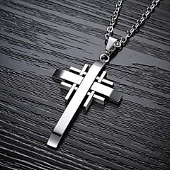 Недорогие Ожерелья-Муж. Ожерелья с подвесками - Титановая сталь, Позолота Крест Черный, Серебряный, Золотой Ожерелье Назначение Новогодние подарки, Свадьба, Для вечеринок