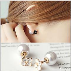Κουμπωτά Σκουλαρίκια Μαργαριτάρι Απομίμηση Μαργαριταριού Επιχρυσωμένο Flower Shape Λευκό Μαύρο Κοσμήματα Γάμου Πάρτι Καθημερινά Causal