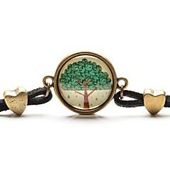 olcso Karkötők-időt gem életfa medál nyaklánc művészet fa üveg cabochon karkötő
