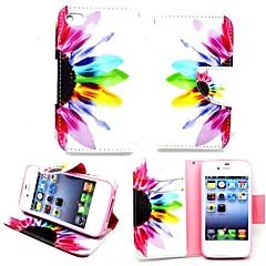 Недорогие Кейсы для iPhone 5с-karzea ™ красивые цветочные PU кожа ТПУ Назад живопись держателя карты бумажник случае с овальной пряжкой для iPhone 4 / 4s