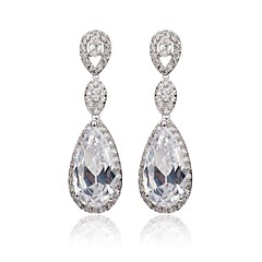 preiswerte Ohrringe-Damen Weiß Weiß Kubikzirkonia Tropfen-Ohrringe - Kubikzirkonia Klassisch Weiß Für Party