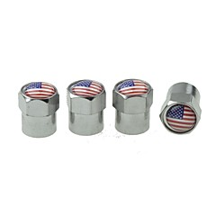 Luxury  Car Tire National Flag  Copper Valves Decoration Cap (USA 4 Pieces Per Pack)