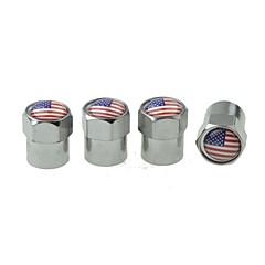 neumático de coche de lujo bandera nacional válvulas de cobre decoración tapa (EE.UU. 4 piezas por paquete)