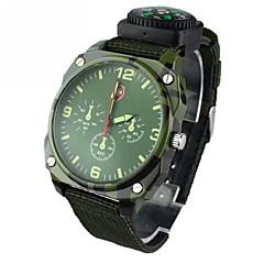 Hommes Montre Militaire Quartz Tissu Bande Noir Vert Noir Vert