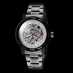 Αντρικά Διάφανο Ρολόι μηχανικό ρολόι Μηχανικό κούρδισμα Εσωτερικού Μηχανισμού Ανοξείδωτο Ατσάλι Μπάντα Μαύρο Μάρκα WINNER
