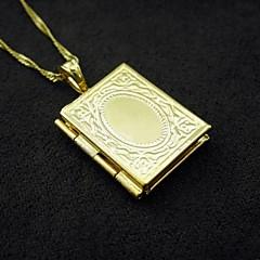 18k valódi aranyozott belső lézeres gravírozás Allah a muzulmán fotó box medál 1.2 * 2.5cm