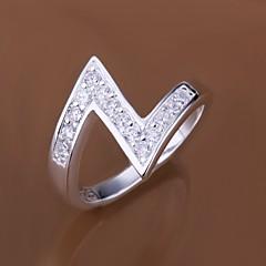 preiswerte Ringe-Damen Statement-Ring - Sterling Silber, Zirkon, Kubikzirkonia Luxus 7 / 8 Für Hochzeit / Party / Alltag / Diamantimitate / Strass