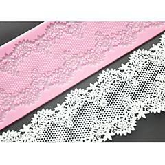 네-C 케이크 레이스 매트 실리콘 몰드 케이크 장식 용품, 실리콘 매트 퐁당 케이크 도구 색상 핑크
