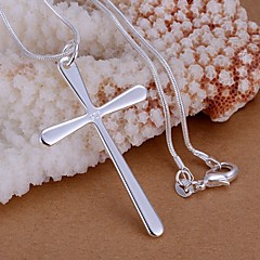 cheap Necklaces-Women's Cross Basic Simple Style Pendant Necklace Sterling Silver Pendant Necklace , Wedding Party Gift Daily Casual