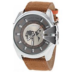 お買い得  大特価腕時計-JUBAOLI 男性用 クォーツ 軍用腕時計 カレンダー カジュアルウォッチ 生地 バンド チャーム ブラック