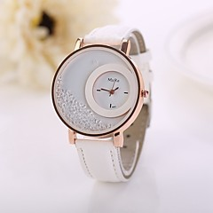 cheap Floral Watches-Women's Floating Crystal Watch Fashion Watch Quartz Imitation Diamond PU Band Flower White Red Pink Purple