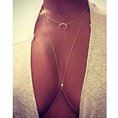 Damskie Warstwy Naszyjniki Geometric Shape Księżyc Imitacja diamentu Stop Modny luksusowa biżuteria biżuteria kostiumowa Biżuteria Na