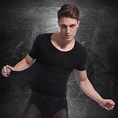 mannen met korte mouwen afslankende ondergoed body shaper overhemd stevige buik belly bust-shirt