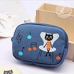 Black Cat Family Stylish Multi Color Canvas Coin Purse (Random Delivery)