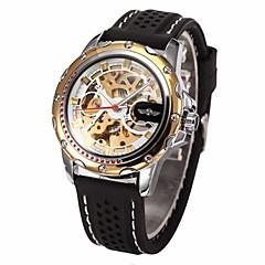 preiswerte Herrenuhren-WINNER Herrn Armbanduhr Mechanische Uhr Automatikaufzug Transparentes Ziffernblatt Silikon Band Analog Luxus Schwarz - Golden Rotgold