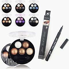 1pcs waterdichte vloeibare eyeliner pen&1pcs heldere stereo 5 kleur shadow ubub roast oog poeder metallic glans