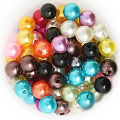 beadia 92g (ca. 200pcs) abs perle perler 10mm runde blandet farve plast løse perler DIY smykker tilbehør