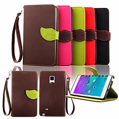 Недорогие Чехлы и кейсы для Galaxy Note 3-Кейс для Назначение SSamsung Galaxy Samsung Galaxy Note Бумажник для карт Кошелек со стендом Флип Чехол Сплошной цвет Кожа PU для Note 4