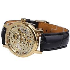 Χαμηλού Κόστους Ανδρικά ρολόγια-WINNER Ανδρικά Μηχανικό κούρδισμα μηχανικό ρολόι / Ρολόι Καρπού Εσωτερικού Μηχανισμού PU Μπάντα Μαύρο