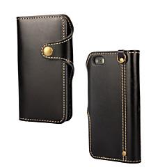 olcso iPhone 5S / SE tokok-Mert iPhone 5 tok Minta Case Teljes védelem Case Egyszínű Kemény Valódi bőr iPhone SE/5s/5