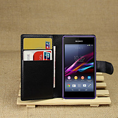 Недорогие Чехлы и кейсы для Sony-Кейс для Назначение Sony Xperia Z2 / Sony Xperia M2 / Другое Кейс для Sony Кошелек / Бумажник для карт / со стендом Чехол Однотонный Твердый Кожа PU для Sony Xperia Z2 / Sony Xperia M2 / Other