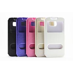 Voor Samsung Galaxy hoesje met standaard / met venster hoesje Volledige behuizing hoesje Effen kleur PU-leer SamsungS6 edge / S6 / S5 /