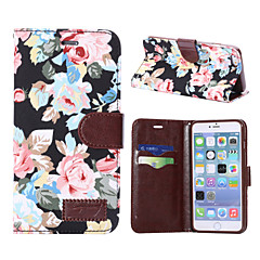 Недорогие Кейсы для iPhone 4s / 4-Кейс для Назначение Apple iPhone 7 Plus iPhone 7 Бумажник для карт Кошелек со стендом Флип Чехол Цветы Твердый Кожа PU для iPhone 7 Plus